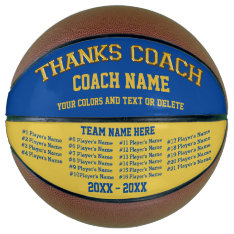 Coach Gifts Basketball  Your Colors, 8 Text Boxes at Zazzle
