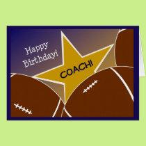 Coach - Happy Birthday Football Loving Coach Card