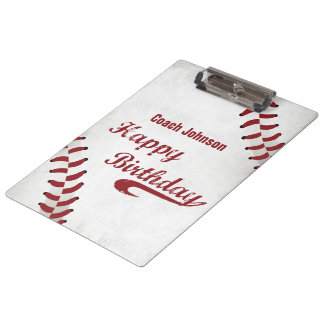 Coach Happy Birthday Large Grunge Baseball, Sport Clipboard