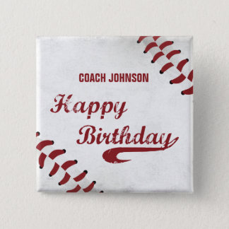 Coach Happy Birthday Large Grunge Baseball, Sport Pinback Button