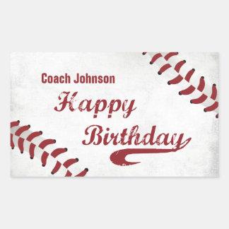 Coach Happy Birthday Large Grunge Baseball, Sport Rectangular Sticker