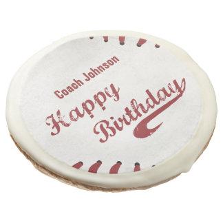 Coach Happy Birthday Large Grunge Baseball, Sport Sugar Cookie