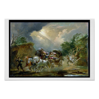Coach in a Thunderstorm, 1790s (oil on millboard) Poster