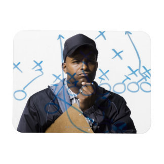Coach looking at strategy rectangular photo magnet