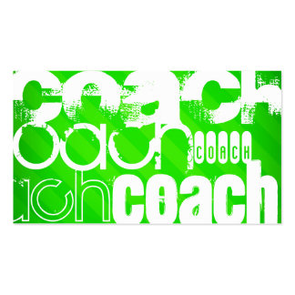 Coach; Neon Green Stripes Business Card