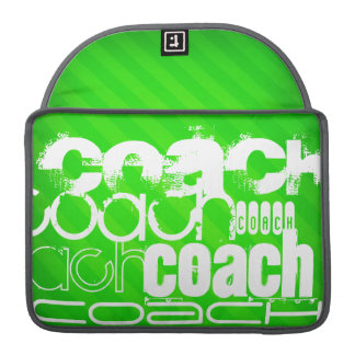 Coach; Neon Green Stripes Sleeve For MacBook Pro