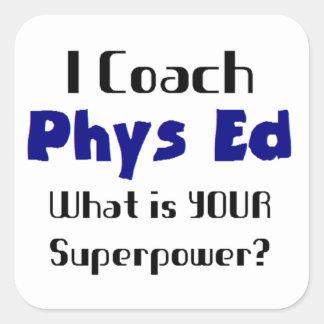 Coach phys ed square sticker