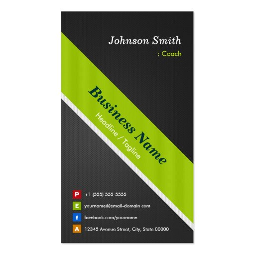 Coach - Premium Black and Green Business Card Template (front side)