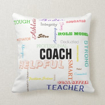 Beach Themed Coach Pride Gift Attributes Traits Typography Throw Pillow