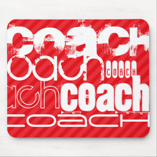 Coach; Scarlet Red Stripes Mouse Pad
