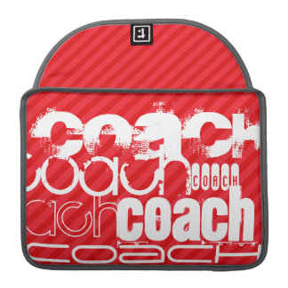 Coach; Scarlet Red Stripes Sleeve For MacBooks