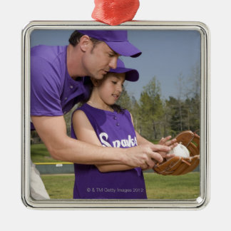 Coach teaching little league player metal ornament