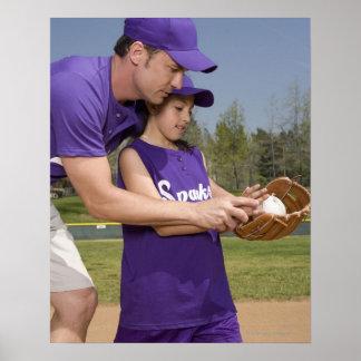 Coach teaching little league player poster