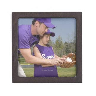 Coach teaching little league player premium keepsake box