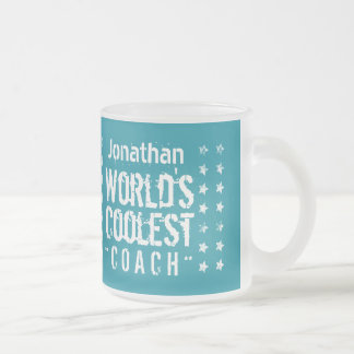 COACH Teal Background Grunge Stars A03 Frosted Glass Coffee Mug