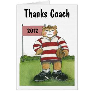 Coach Thank You Card, Female Rugby Bear Greeting Card