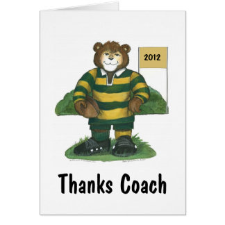 Coach Thank You Card, Rugby Bear in Green and Gold Card