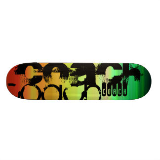 Coach; Vibrant Green, Orange, & Yellow Skateboard Deck