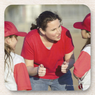 Coach with little league players beverage coaster