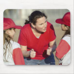 Coach with little league players mouse pad
