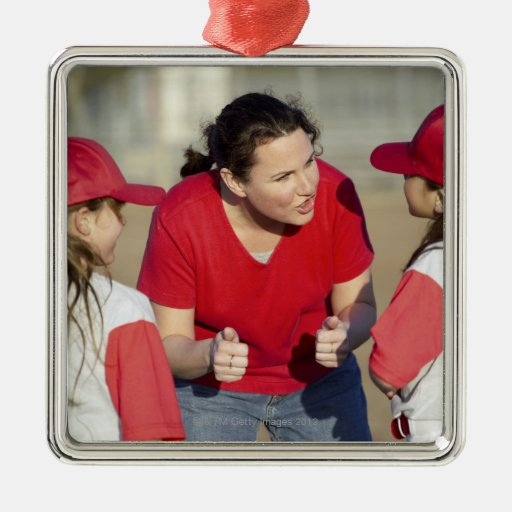 Coach with little league players square metal christmas ornament