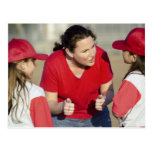 Coach with little league players postcard