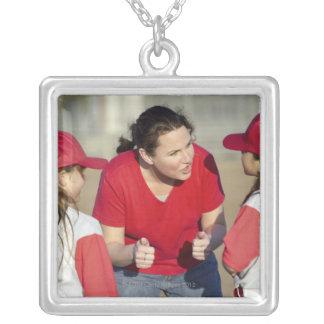 Coach with little league players square pendant necklace