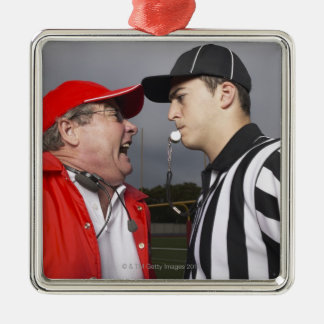 Coach Yelling at Referee Square Metal Christmas Ornament