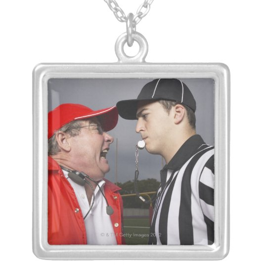 Coach Yelling at Referee Silver Plated Necklace