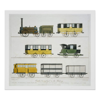 Coaches Employed on the Railway, plate 7 from 'Liv Poster