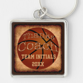 Coaches Personalized Vintage Basketball Keychains