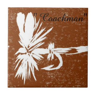 """""""Coachman"""" white on brown trout fly tile"""