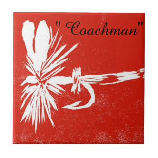 """""""Coachman"""" white on red trout fly tile"""