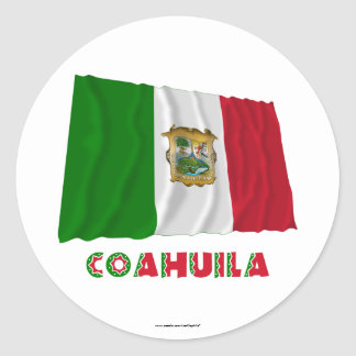 Coahuila Waving Unofficial Flag Classic Round Sticker
