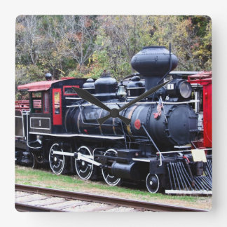 Coal Engine Train Square Wall Clock
