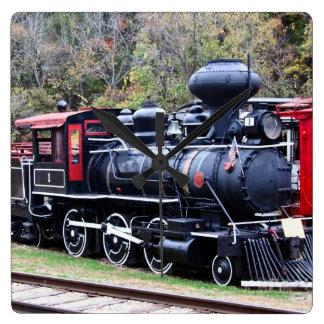 Coal Engine Train Square Wall Clock