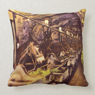 Coal Mine Mules Throw Pillow