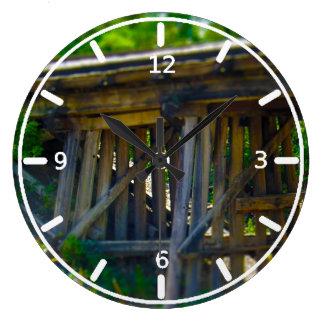 Coal Mine Road Train Bridge Kansas City Large Clock