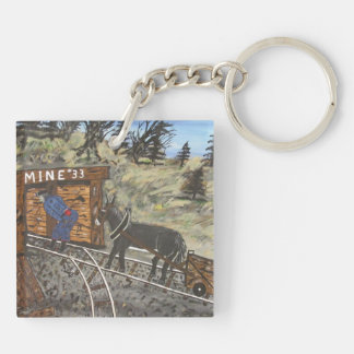 Coal miner and Donkey Double-Sided Square Acrylic Keychain