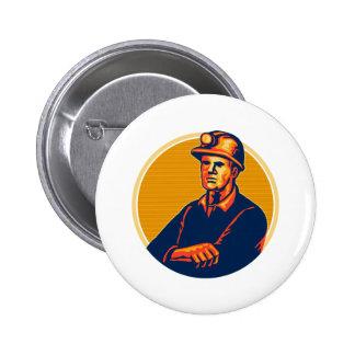 Coal Miner Arms Folded Retro Pinback Button