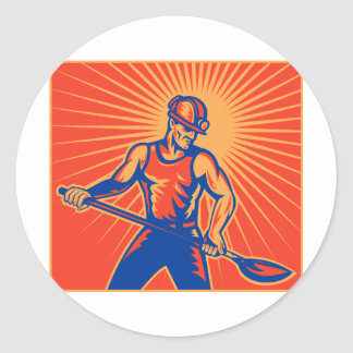 Coal miner at work with shovel front view retro stickers