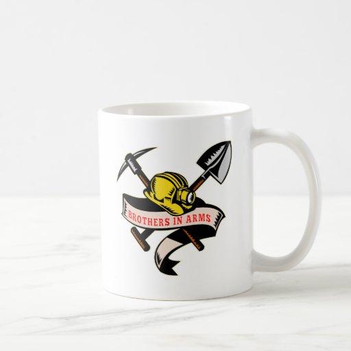 coal miner hat shovel spade pickax mining coffee mug