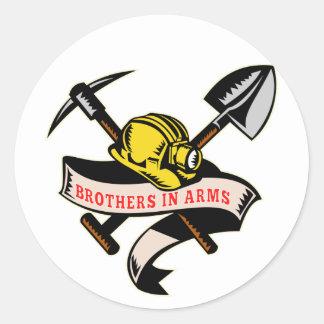 coal miner hat shovel spade pickax mining round stickers