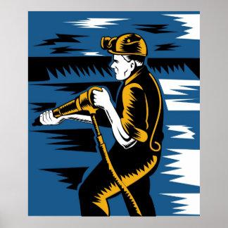 coal miner jack pneumatic drill retro poster