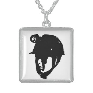 Coal Miner Square Pendant Necklace