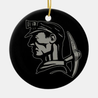 COAL MINER Double-Sided CERAMIC ROUND CHRISTMAS ORNAMENT