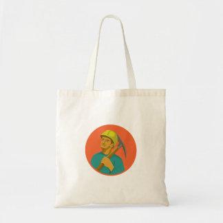 Coal Miner Pick Axe Circle Watercolor Tote Bag