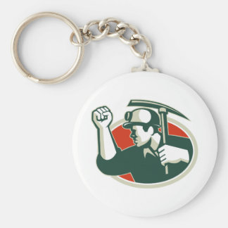 Coal Miner Pump Fist With Pick Ax Retro Keychain