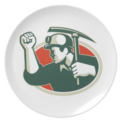 Coal Miner Pump Fist With Pick Ax Retro Party Plates