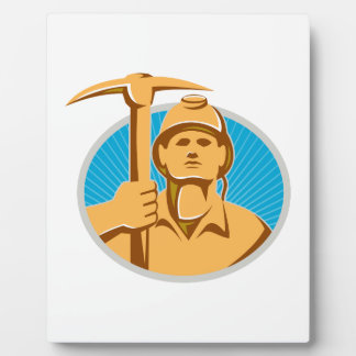 Coal Miner With Pick Ax Hardhat Front Retro Plaque